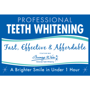 beaming white teeth whitening window cling