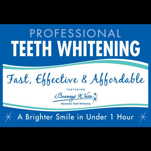 beaming white teeth whitening window cling
