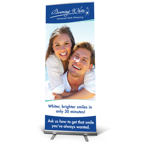 beaming white standard banner english