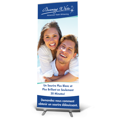 beaming white standard banner french