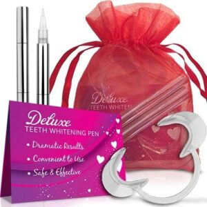Deluxe Teeth Whitening Pen Gift Set - metallic teeth whitening pens come with a large, clear cheek retractor