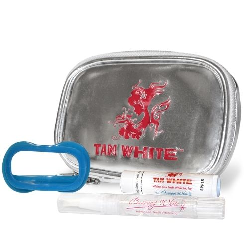 Tan White EU - Bag with Mirror, PF 15 Lip Balm, Lip & Cheek Retractor, Pen - All Items