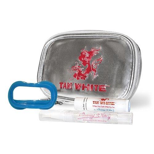Tan White Kit - UV Teeth Whitening Kit, Tan White Pen, Brush Tip, Tan White SPF 15 Lip Balm, Tan White Lip & Cheek Retractor, Tan White Bag with Mirror