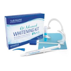 EU Advanced Whitening Kit with 6% hydrogen peroxide gel, activator, sponge applicator, cheek retractor, dental bib