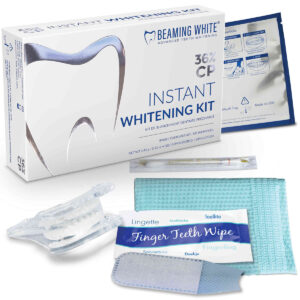 Instant teeth whitening kit with 36% cp gel, platform tray, finger wipe, vitamin e swab, dental bib