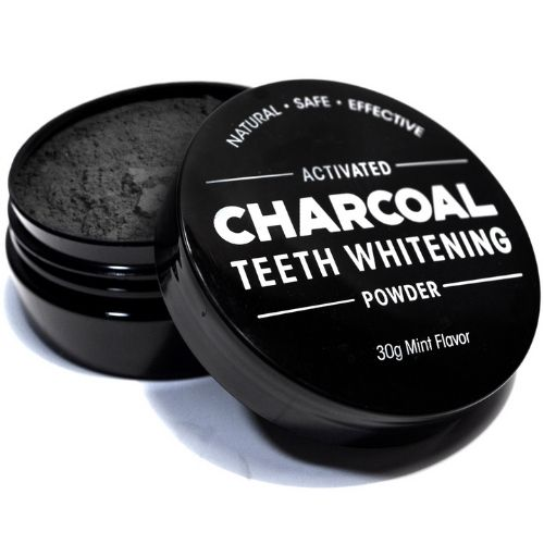Charcoal Teeth Whitening Powder - Charcoal Container Open