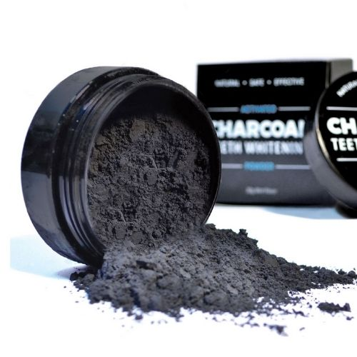 Charcoal Teeth Whitening Powder - Charcoal Container and Box Spill