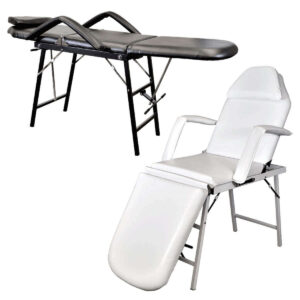 Portable Adjustable Facial Bed - Black Reclined and White Upright