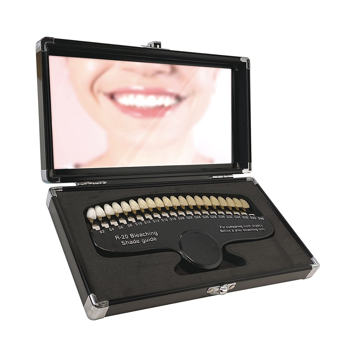 r-20 tooth shade guide in open case with mirror