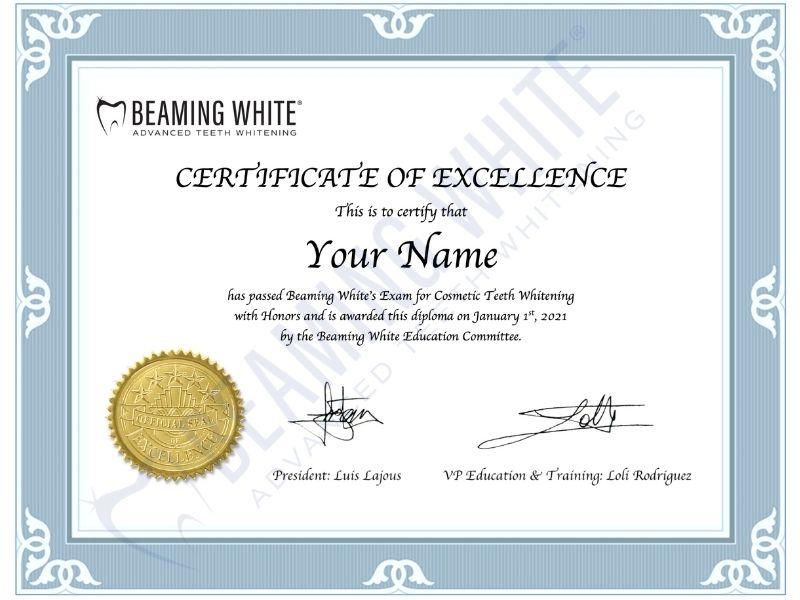 Beaming Whitening Teeth Whitening Training Certificate